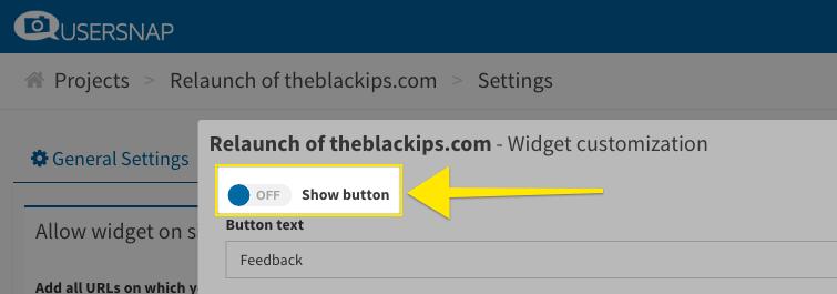 hide usersnap feedback widget