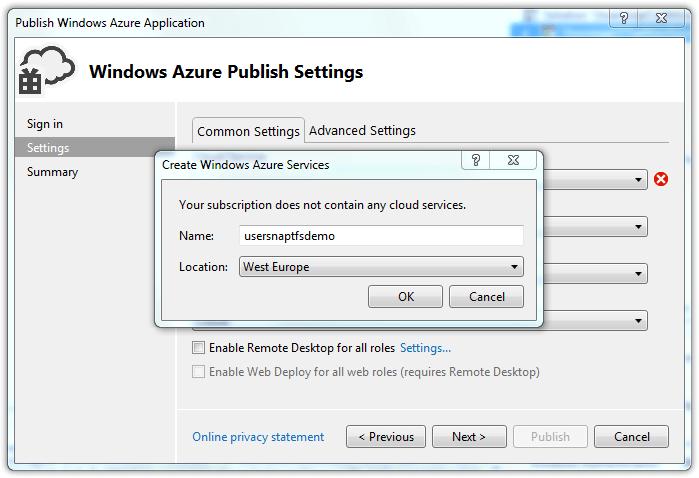 Windows Azure Publish Settings