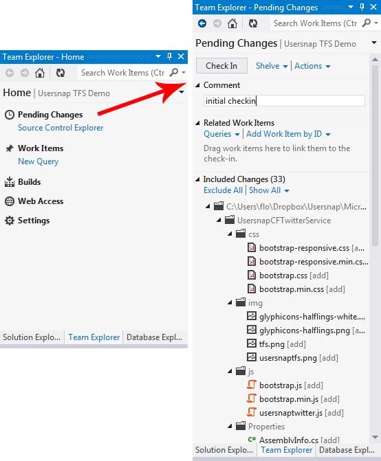 Push code to TFS
