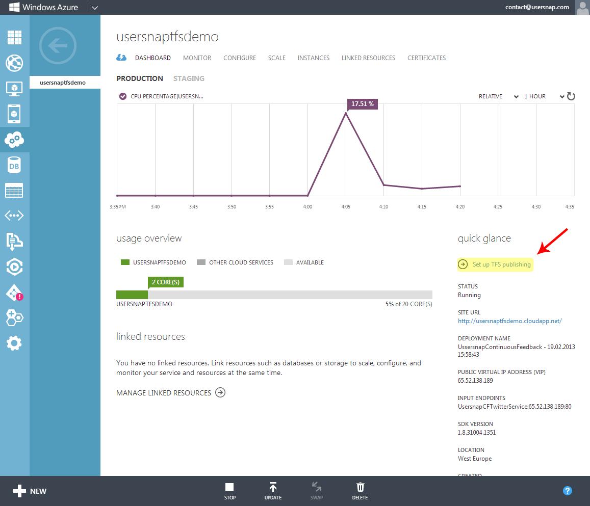 Windows Azure Dashboard