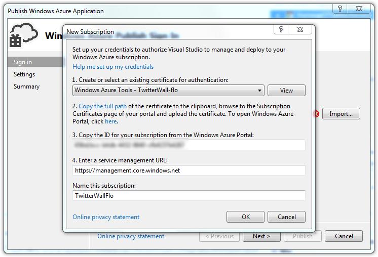 Windows Azure Subscription Setup