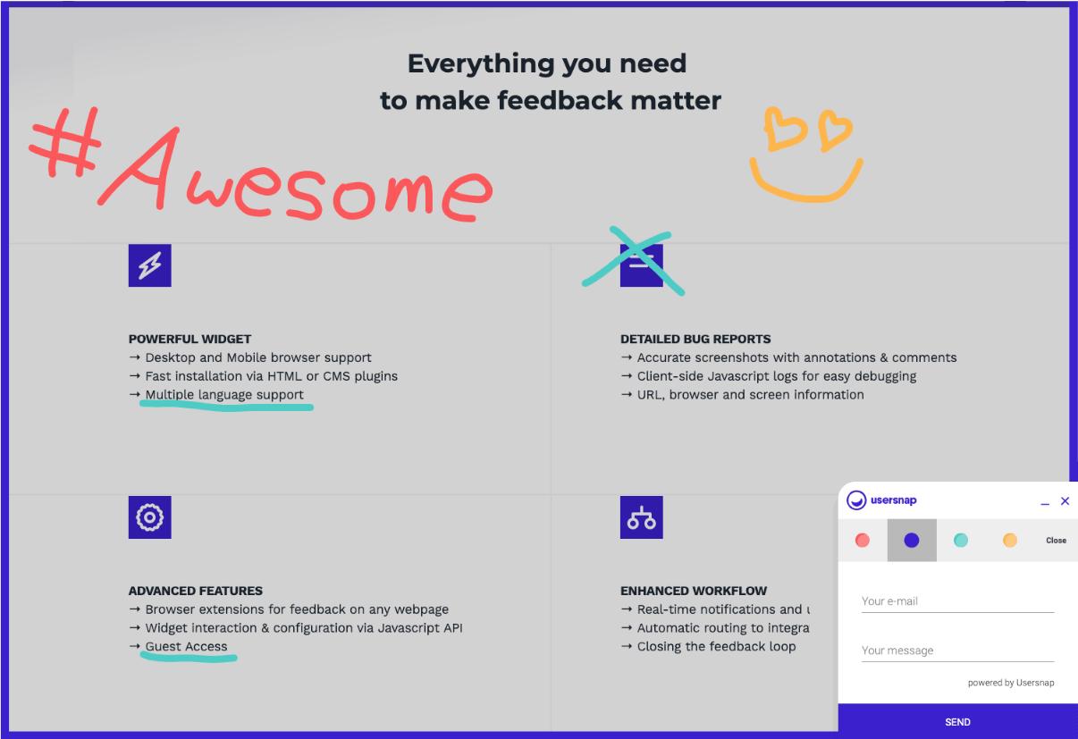 Usersnap Visual Feedback Process - Illustration Tool