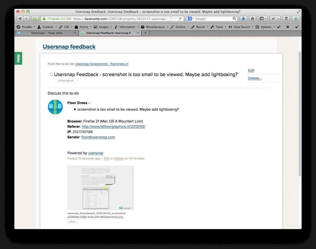 visual feedback in Basecamp ticket