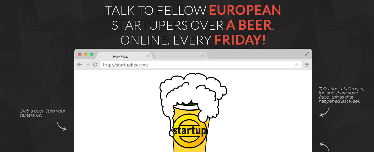 Meet fellow startupers from all over Europe. Every Friday. Online!