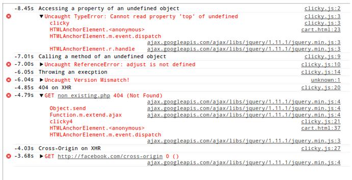 javascript xhr errors