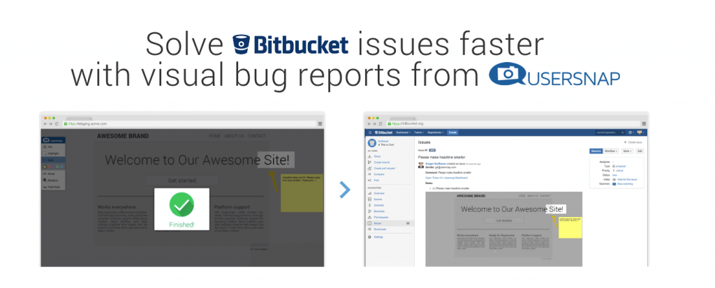 bitbucket integration usersnap bug tracker