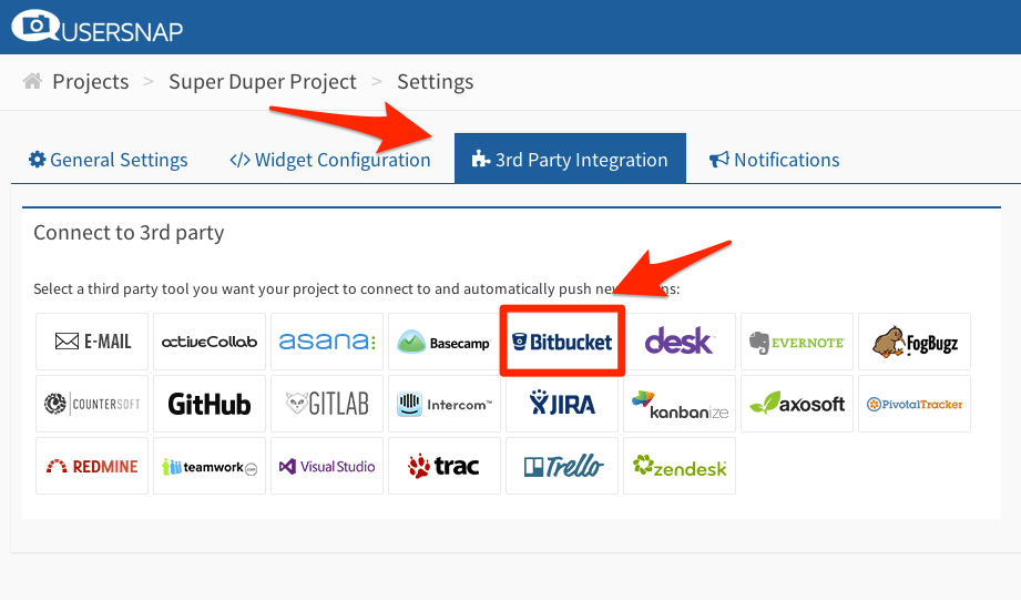 Bitbucket Integration for Bug Tracker Usersnap