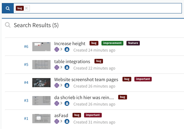Labels Usersnap Bug tracker new search