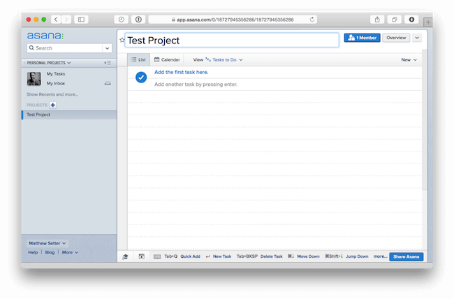 Asana Project overview for integrating with bug tracker - asana for bug tracking