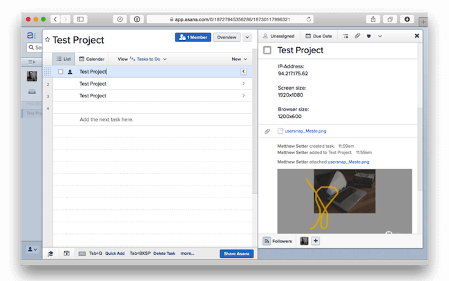 project management integration asana with bug tracker usersnap