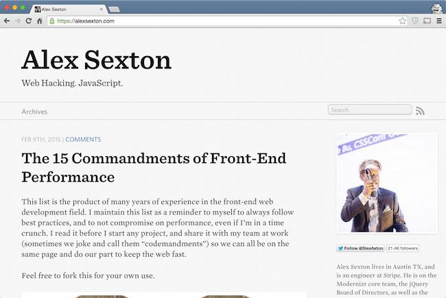 alex sexton web development blog for developers