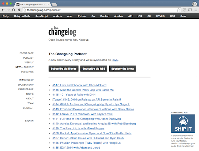 the changelog podcast among best web dev podcasts