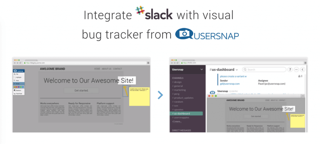 bug tracker with slack and usersnap