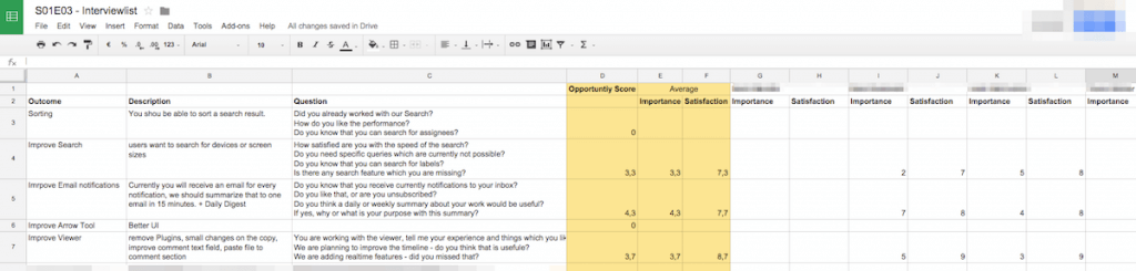 episode list product feature matrix for implementing new product features
