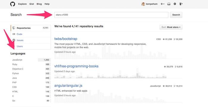 GitHub tutorial search stars