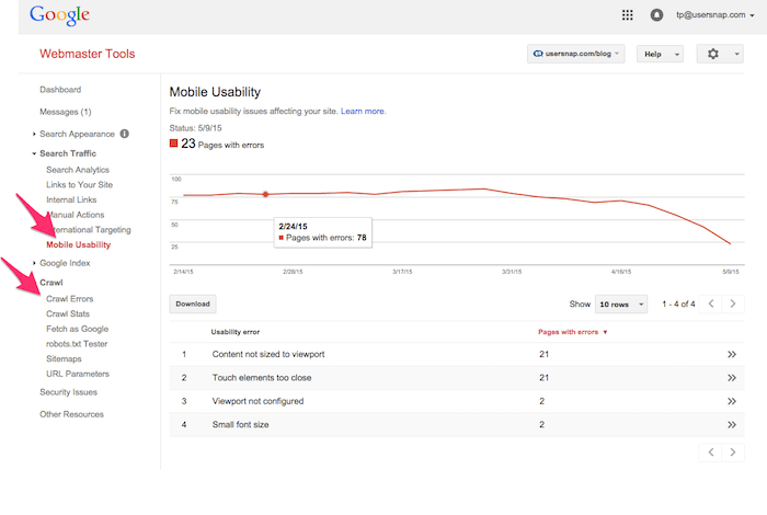 google webmaster tools for website performance testing