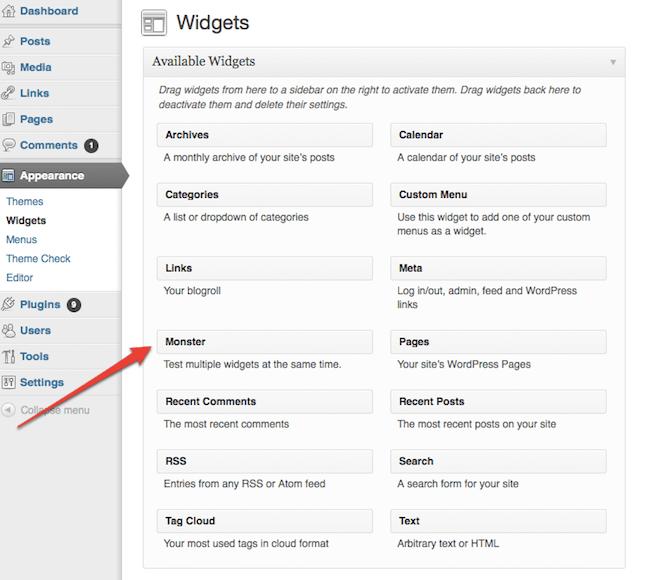 monster widget for wordpress developers