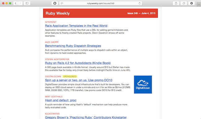 ruby weekly best web developer newsletter