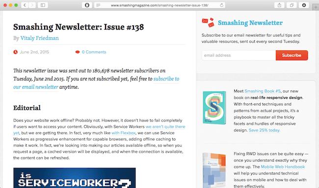 smashing magazine newsletter - the best web develoment newsletters