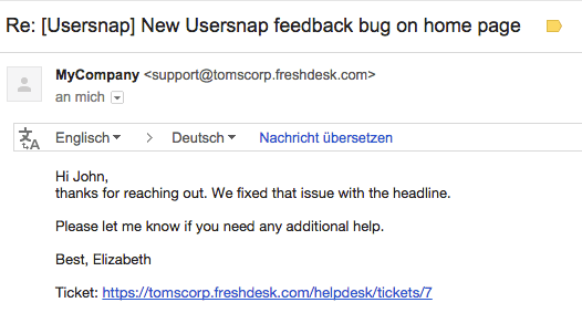 customer support emails from freshdesk and usersnap