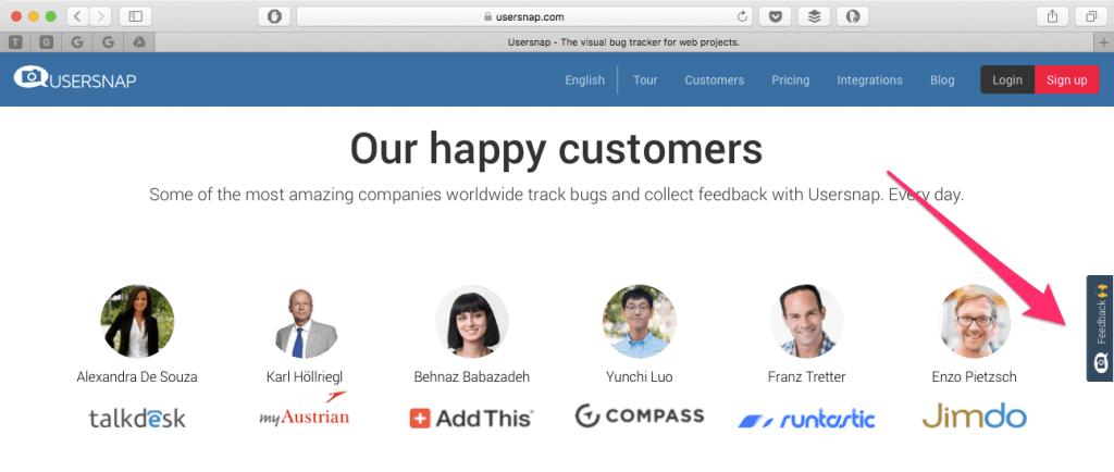 usersnap feedback button