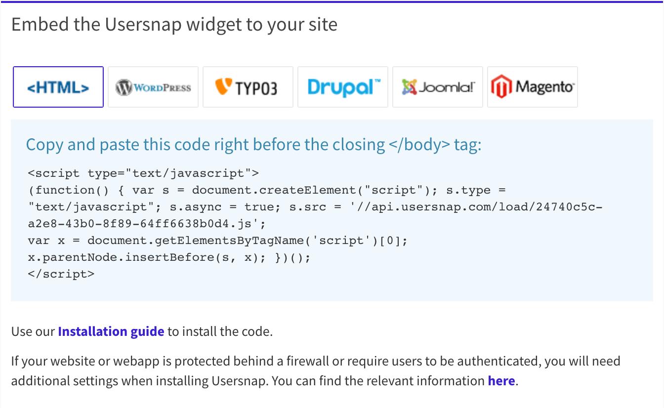 Usersnap widget configuration: how to install website feedback tool