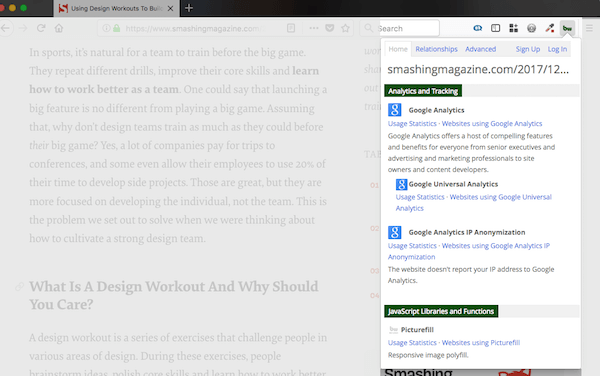 screenshot of builtwith firefox add-on