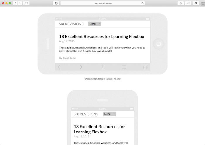 responsinator mobile website testing