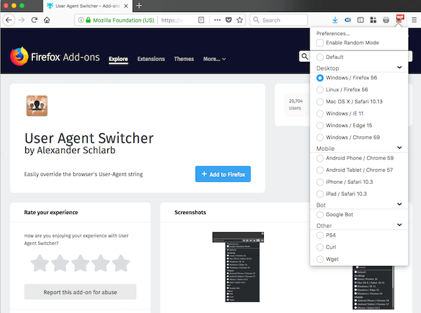 screenshot of user agent switcher firefox add-on