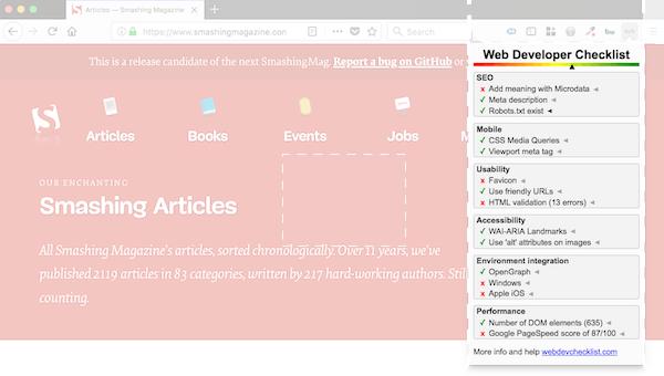 Screenshot of web developer checklist firefox addon