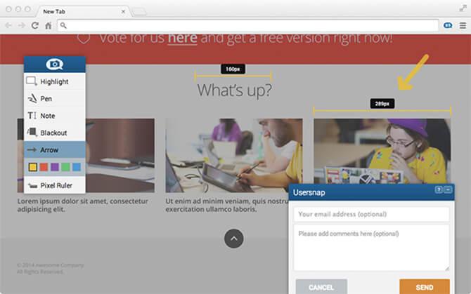 ad-hoc feedback widget from usersnap