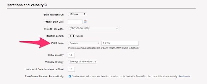 adjust point scale pivotal tracker projects