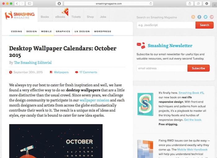 smashing magazine web design blogs