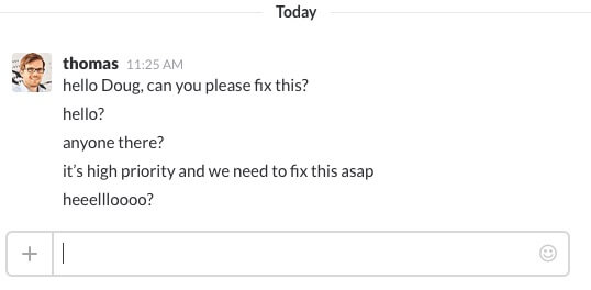 slack bug tracking message