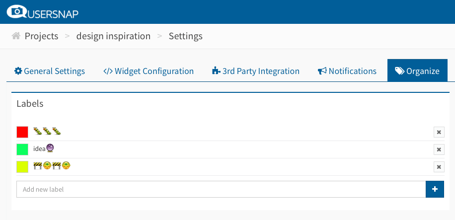 label manager bug reports usersnap