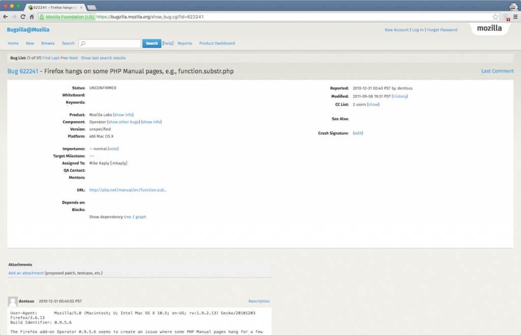 BugZilla open source bug tracking tool