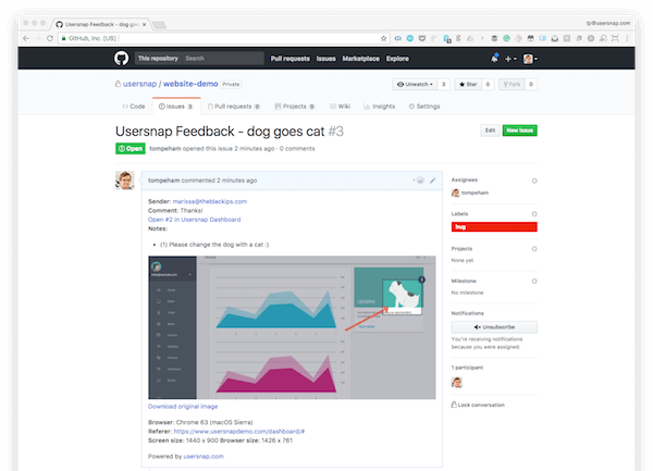 screenshot of GitHub issue tracking