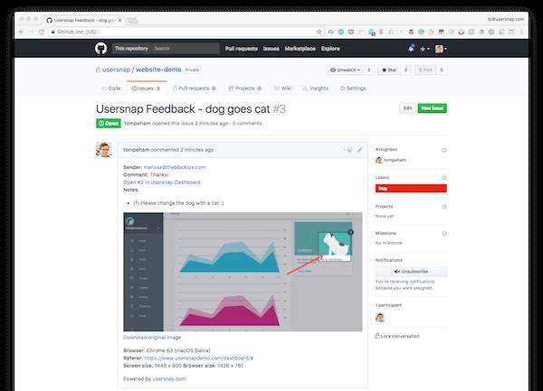 screenshot of GitHub issue tracking