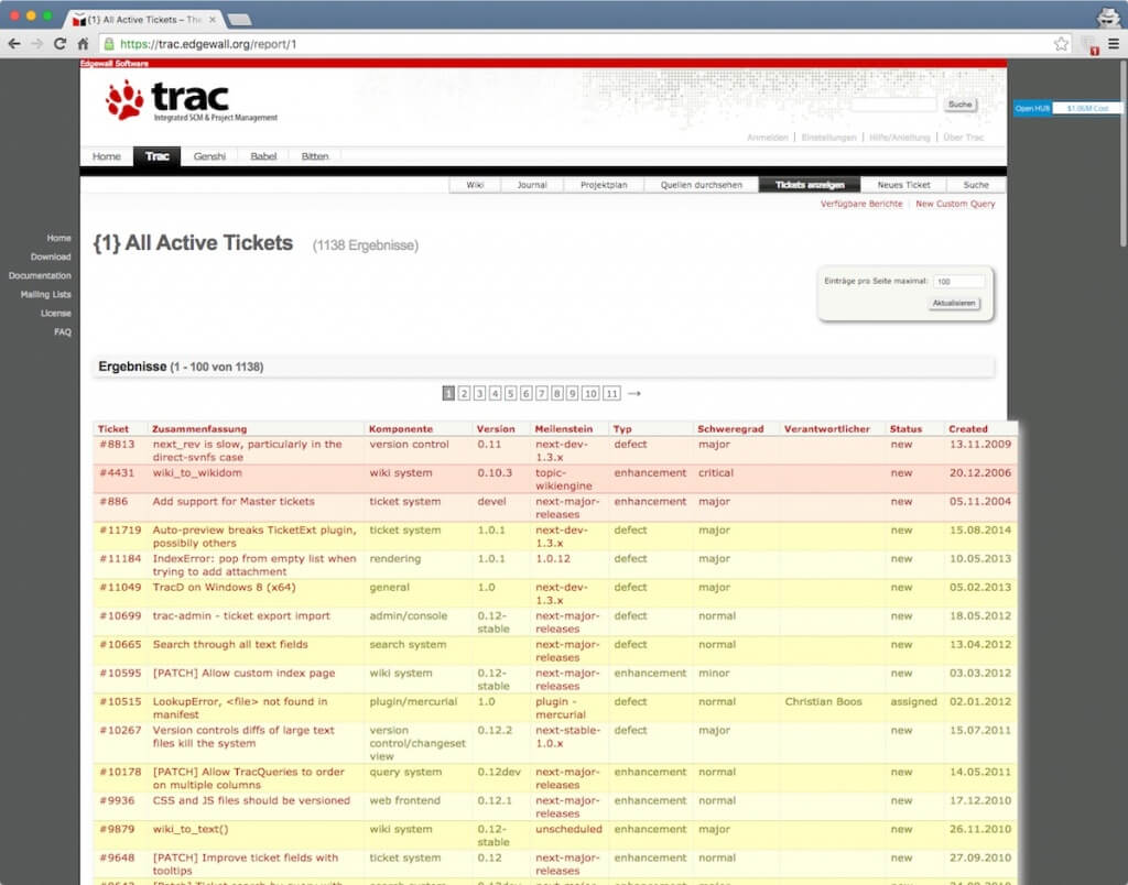 Open Source Bug Tracking