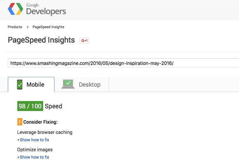 smashing magazine website speed test results