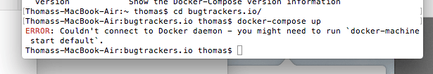 docker for mac error message