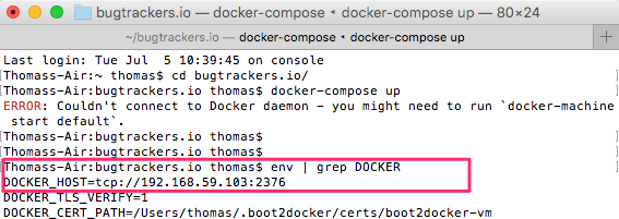 docker for mac terminal error fix message