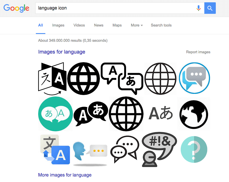 language icon google search