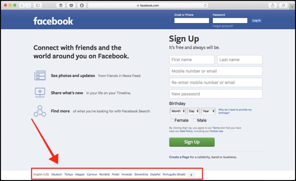 language switcher footer facebook