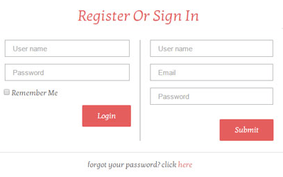 register form vs login form