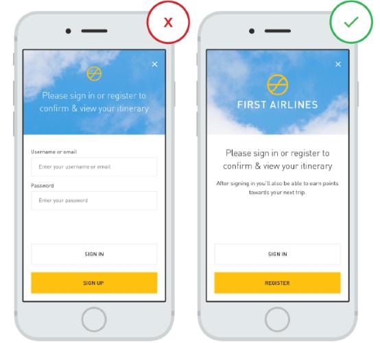 registration form design buttons