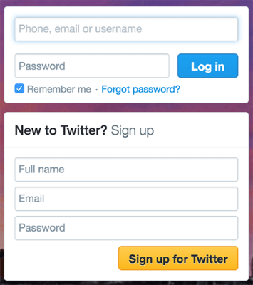twitter example registration form