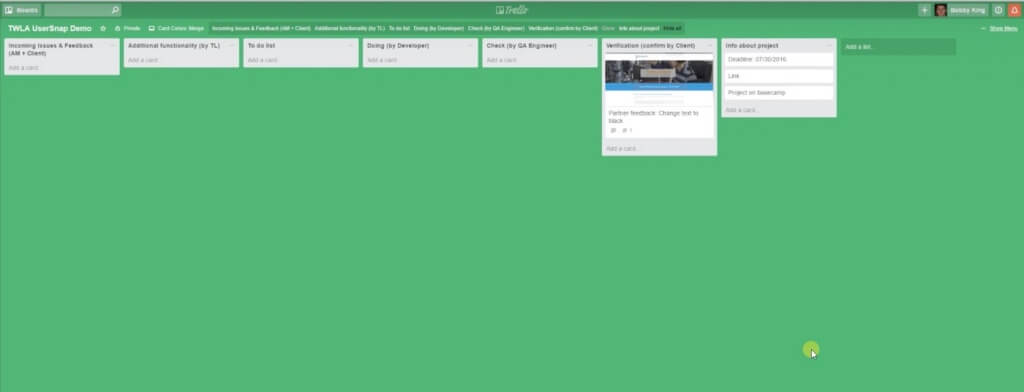 trello template with usersnap