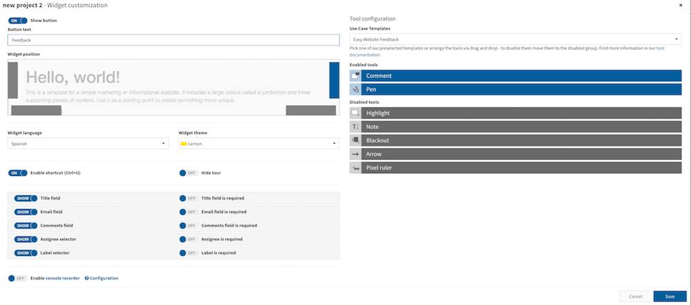 feedback widget customization
