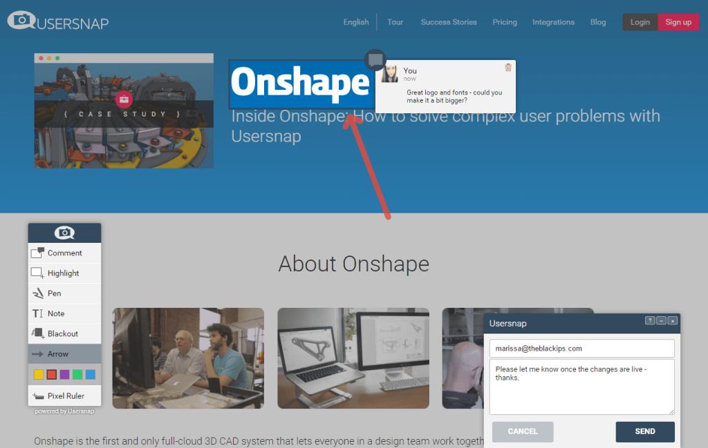 Usersnap feedback tool